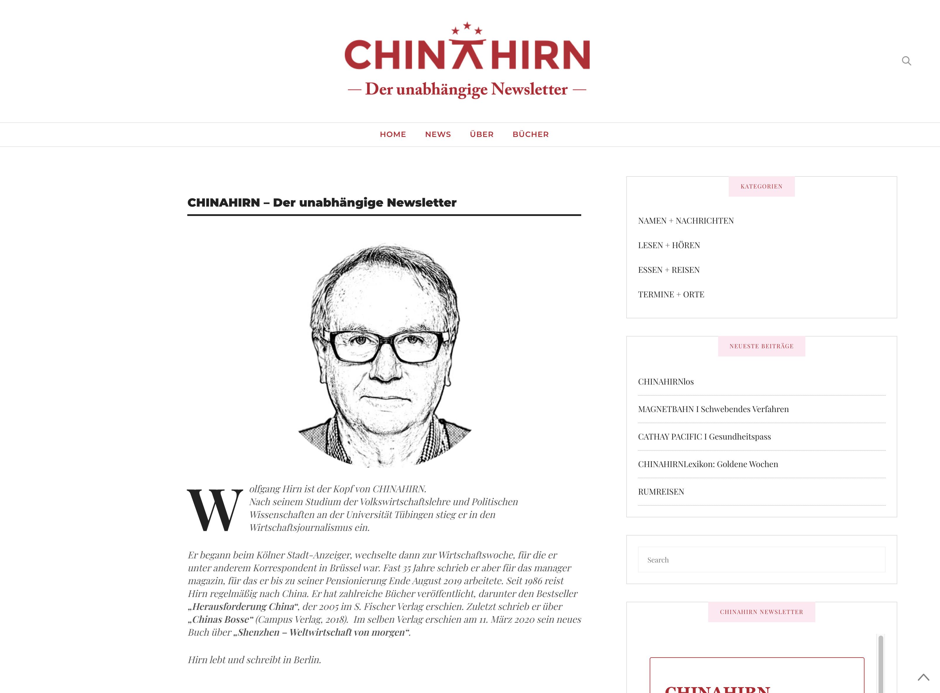 CHINAHIRN der unabhaengige Newsletter wolfgang hirn manager magazin