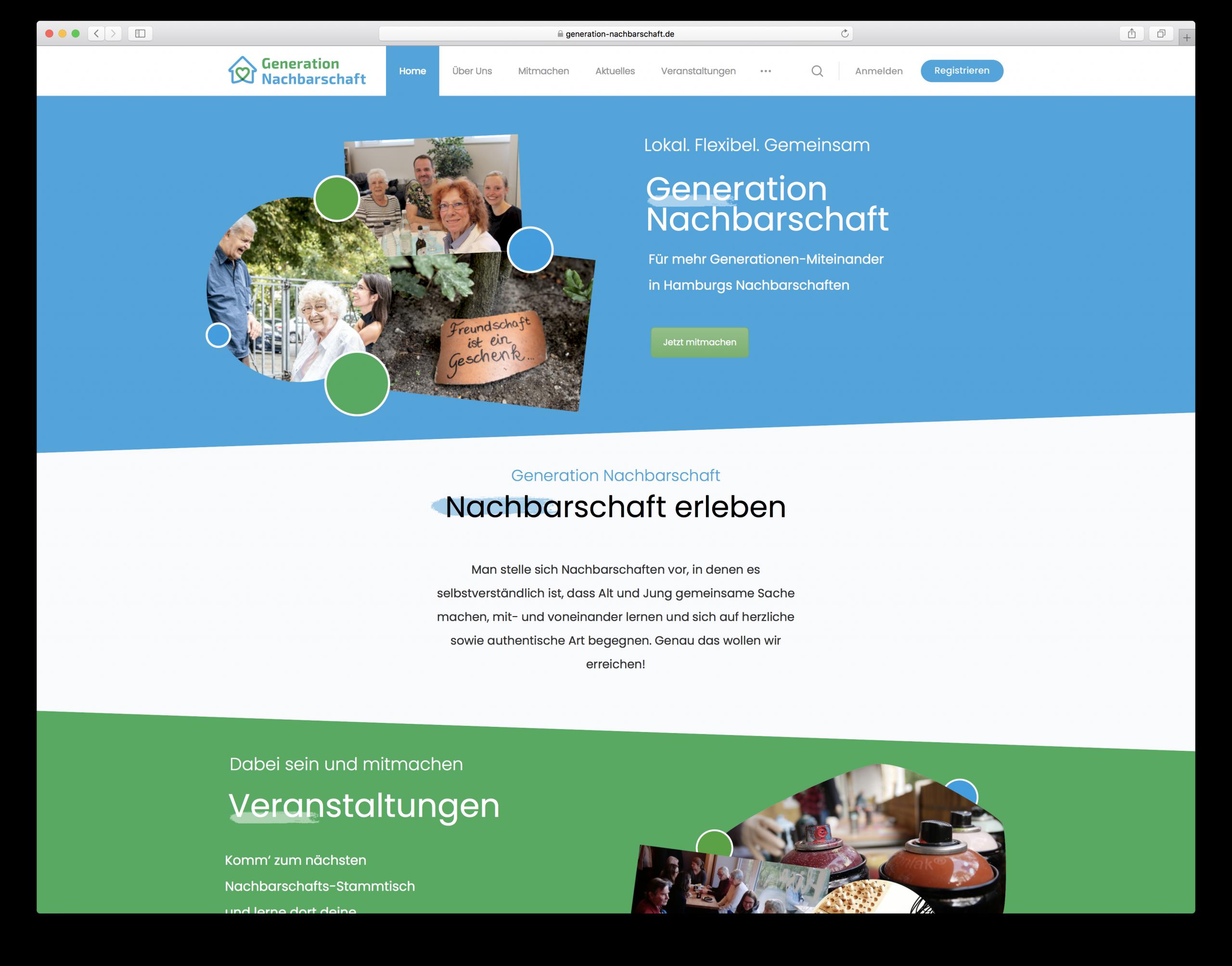 Generation Nachbarschaft social media netzwerk wordpress redesign homepage